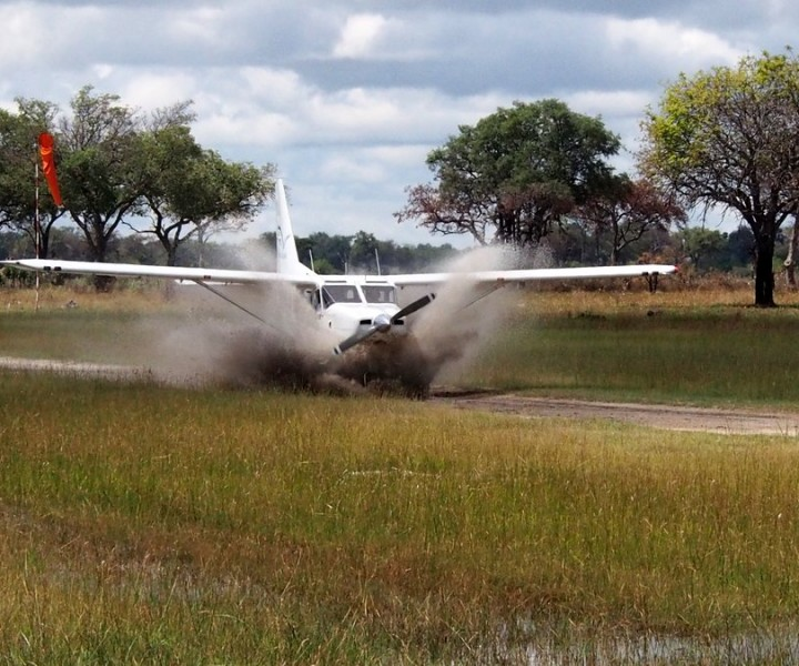 Landing at Camp Okavango in the rain!